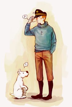 Art from ecolier on tumblr. // <3 Tintin playing dress-up?