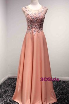 Lace appliqued orange chiffon prom dress, formal dress, prom dresses for teens