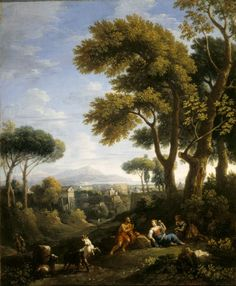 A Classical Landscape with a Traveller and Two Women conversing and Three Goats Gambolling {Jan Frans van Bloemen, called Orizzonte}