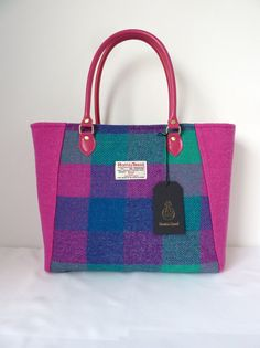 7b1cd82365 Pink and Check Harris Tweed Tote - Harris Tweed Handbag - Harris Tweed Bag  - Purse with Leather Handles - Pink Purse - ladies purse