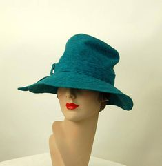 8673e26836071 1960s Lilly Dache  hat turquoise slouchy fedora wool knit Anti Fashion