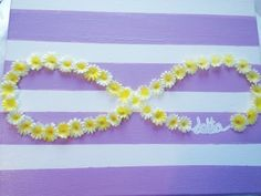 sorority painted canvas: flowers, infinity, purple and white stripes, tri delta