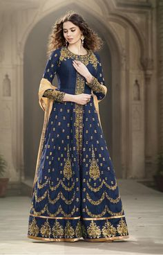 Buy Online Exclusive Designer Anarkali Suit or shuits Navy Blue Color, Banglori Silk and Santoon material, Chiffon Dupattas, Party Wear, Ceremonial Wear, Wedding Wear, Festival Wear, for women, Anarkali Suits, Anarkali suit, shuits for women. We have large range of Designer Anarkali suits in our website with the best pricing and unique designs shipping to (UK, USA, India, Germany, UAE, Canada, Singapore, Australia, Mauritius, New Zealand) world wide.