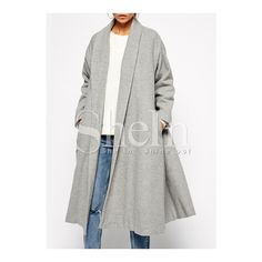 SheIn(sheinside) Grey Long Sleeve Lapel Pockets Oversized Coat featuring polyvore, fashion, clothing, outerwear, coats, grey, grey coat, oversized lapel coat, long grey coat, lapel coat and long coat