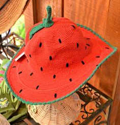 Child's strawberry hat, San Diego Hat Co I Fairview Garden Center I Raleigh, NC I www.fairviewgardencenter.com Early Spring, San Diego, Burlap, Strawberry, Container, Reusable Tote Bags, Hat, Signs, Garden