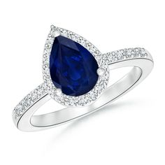 Get this exceptional pear sapphire and diamond engagement ring to make her heart skip a beat- Pear Shaped Sapphire Engagement Ring with Diamond Halo