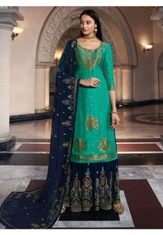 Rama Green Dola Jacquard Kameez with Georgette Lehenga and Dupatta Sharara Suit, Pakistani Salwar Kameez, Kurti, Ethnic Outfits, Indian Outfits, Palazzo Suit, How To Dye Fabric, Embroidered Silk, Festival Wear