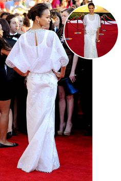 The best red carpet dresses from the back: Zoe Saldana in Givenchy Haute Couture at the 2012 Screen Actors Guild Awards.
