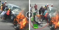 Is this a good example? Victim saved from burning car. A Utah motorcyclist who was pinned under a burning car, expressed his gratitude on Tuesday for the help of strangers who lifted up the the 4,000 pound (1.8 tonne) vehicle to rescue him, in an act of bravery captured on amateur video. Authorities said 21-year-old Brandon Wright was riding his...