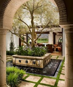 Outdoor Living with Olive Tree and a unique Fountain Center Piece for the…