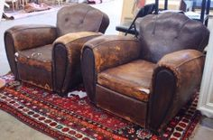 (Lot of Pair of French Art Deco leather club chairs, each having a shaped serpentine back centering the oversize a. on Mar 2011 Leather Club Chairs, French Art, Armchair, Auction, Art Deco, House, Furniture, Home Decor, French Artwork