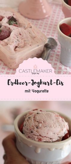 Make yogurette ice cream yourself with or without ice cream maker, Make delicious strawberry ice cream with yogurt with and without ice maker. I prepared the yogurette ice cream with the Kitchen Aid ice maker. Nutella, Kitchen Aid Ice Cream, Baby Food By Age, Baby Food Makers, Full Fat Yogurt, Cooking Supplies, Strawberry Ice Cream, Homemade Baby Foods, Frozen Fruit