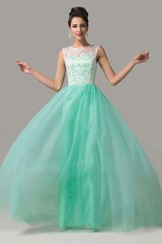 Cap Sleeves Mint Green Lace Long Prom Dresses