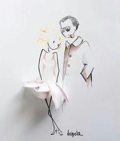 Marylin Monroe y Arthur Miller. Tomada de la página de Virgola en Facebook