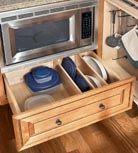 Base Microwave Cabinet - KraftMaid minimal space for plastics Kitchen Base Cabinets, Kitchen Cabinet Remodel, Kitchen Cabinet Storage, Kitchen Redo, Storage Cabinets, Kitchen Organization, Kitchen Ideas, Kitchen Inspiration, Kitchen Tips