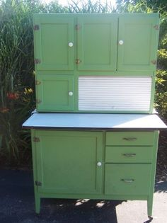 Hoosier Cabinet - I believe this is identical to mine including the original green paint.