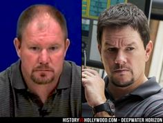 "Real Mike Williams and Mark Wahlberg as Williams in the Deepwater Horizon movie. See more pics of the real disaster at ""Deepwater Horizon: History vs. Hollywood"" - http://www.historyvshollywood.com/reelfaces/deepwater-horizon/"