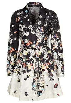 Desigual PRIMAVERA trench coat with flower black & white print with hints of color. I like it, but it might be too sweet and girly for me and I'm afraid of getting the white parts dirty when cycling.
