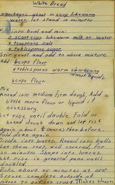 Bread From my mom's recipe collection.From my mom's recipe collection. Retro Recipes, Old Recipes, Vintage Recipes, Cookbook Recipes, Bread Recipes, Baking Recipes, Recipies, Family Recipes, Bread Bun