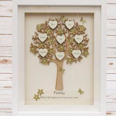 A stunning medium sized FAMILY TREE frame The tree is cut from wood and can have up to 10 wooden 3D hearts bones for your names The background and