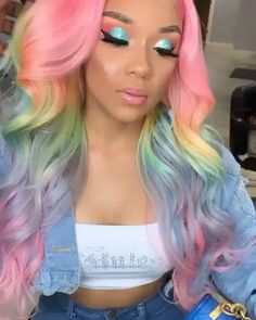Pastel Rainbow Hair, Rainbow Wig, Pink Ombre Hair, Hair Color Purple, Natural Hair Updo, Natural Hair Styles, Soft Grunge Hair, Blonde Lace Front Wigs, Colored Wigs