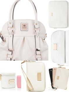 New Handbag Set Kardashian Kollection White Cream Gold Laptop Bag Makeup Iphone Case