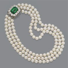 Cultured pearl necklace with emerald and diamond clasp The three strands composed of 41, 44 and 47 cultured pearls respectively, each pearl averaging approximately 7.6 mm. in diameter, the clasp centering an emerald-cut emerald weighing 10.57 carats, framed by 12 old European-cut diamonds weighing approximately 7.20 carats mounted in platinum, lengths 15 to 17 inches.