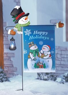 Solar Snowman Lantern with Flag Holder Garden Stake