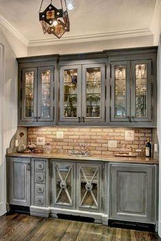 48 Rustic Farmhouse Kitchen Cabinets Makeover Ideas - Decorating Ideas - Home Decor Ideas and Tips Grey Kitchen Designs, Rustic Kitchen Design, Kitchen Cabinet Design, Interior Design Kitchen, Home Interior, Home Design, Coastal Interior, Interior Architecture, Interior Ideas