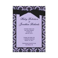 Lavender and Black Damask Post Wedding Invitation