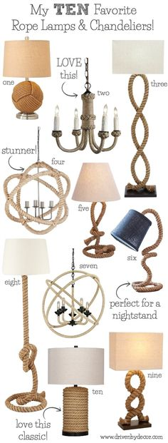 The BEST source for beautiful rope lamps, pendants, and chandeliers for your home. Love this look so much!