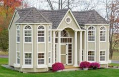 Little Cottage 10 x 16 Grand Portico Mansion Wood Playhouse - Outdoor Playhouses at Play Houses Kids Playhouse Plans, Playhouse Kits, Backyard Playhouse, Build A Playhouse, Outdoor Playhouses, Luxury Playhouses, Playhouse Windows, Toddler Playhouse, Simple Playhouse