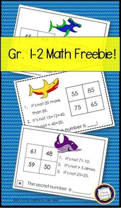 Math Riddle task cards - perfect for Shark Week, or to kick off second grade with some free and fun review!  http://primaryinspiration.blogspot.com/2016/06/its-shark-week.html