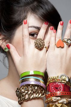 katie evans.  Love the rings, all the bracelets and nail polish together.