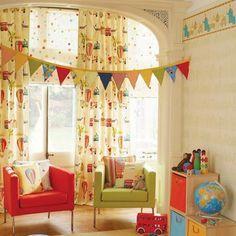 Cortinas en telas de diseños Infantiles #Decoración #Cortinas #Infantil