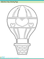 Valentine's Day Coloring Page: Hot Air Balloon from SchoolFamily.com