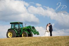 Rustic farm wedding, bride and groom with tractor, John Deere wedding, outdoor wedding, Tennessee Farm Wedding, Knoxville wedding photographer, Jaclyn Paige Photography
