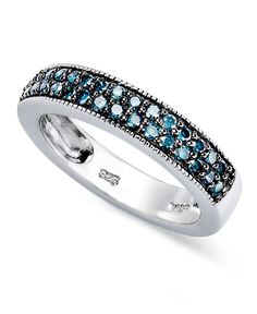 Sterling Silver Ring, Blue Diamond Stackable Ring