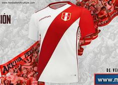 This is the new Peru 2018 Home football shirt by Marathon Sport. For their home games, the Peruvians will turn out in the usual, and iconic, white shirt with red sash. Peru Football, Football Cheerleaders, Football Kits, Football Soccer, Cheerleading, Soccer Fans, Best Player, Sport Wear, Fifa