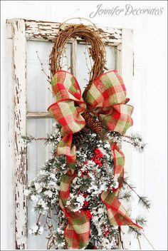 christmas decor grapevine and pine, christmas decorations, seasonal holiday decor