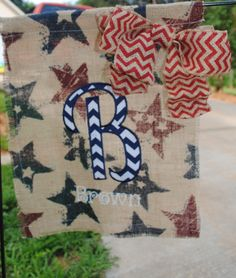 Navy and Red Star Printed Burlap Garden Flag by AsherAlizabeth Printed Burlap, Printing On Burlap, Flag Ideas, Burlap Garden Flags, Yard Flags, Outdoor Flags, Burlap Crafts, Country Crafts, Christmas In July