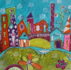 Funky and colorful City scape Beach scene Teal lime by JodiOhl, New Art in my shop!