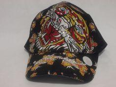 Ed Hardy trucker adjustable hat tiger and cross rhinestones euc baseball cap