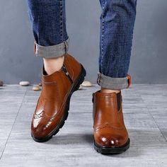 29264491965f67 Men s Microfiber Leather Shoes Brogue Shoes