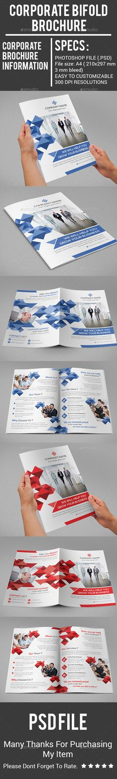 Corporate Bifold Brochure Design - Corporate Brochure Template PSD. Download here: http://graphicriver.net/item/corporate-bifold-brochure/16486572?s_rank=240&ref=yinkira