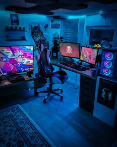 Bedroom Setup, Room Design Bedroom, Room Ideas Bedroom, Computer Gaming Room, Gaming Room Setup, Gaming Rooms, Gaming Chair, Small Game Rooms, Method Homes