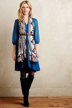 Anthropologie. Great way to accessorize dress with scarf.