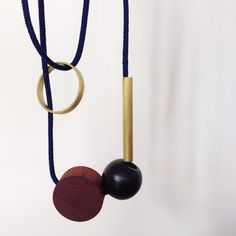 'Playing with blocks' necklace in brass and rosewood by Nannestad & Sons Washer Necklace, Sons, Brass, Graphic Design, Interior, Jewelry, Jewlery, Indoor, Jewels