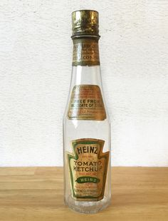1800's Heinz Ketchup Bottle / H.J. Heinz Co / Glass Bottle Paper Label Tin Lid / Catsup Bottle / Primitive Rustic / Kitchen Decor