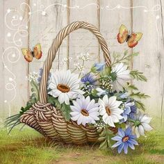 Have A Blessed Weekend! Art Floral, Tole Painting, Fabric Painting, Flower Vases, Flower Art, Mosaic Flowers, Silk Ribbon Embroidery, Embroidery Patterns, Decoupage Paper